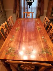 "Beautifully stenciled table and 6 plaid fabric upholstered chairs. Table is 80 x 40 x 30"" tall.."