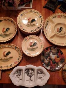 Rooster themed dishes and serving pieces.