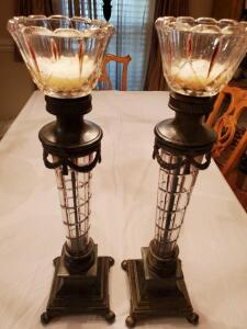 A pair of beautiful tall candlesticks. 24' tall