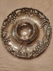 Arthur Court grape 14in round chip-and-dip tray with box.
