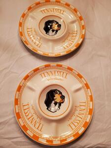 A pair of UT Vols chip and dip/veggie trays.