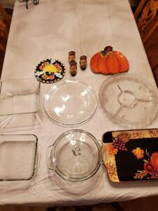 Fall platter, anchor Hocking casserole dishes, decorative fall server where, chip and dip platters.