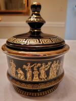 "Greek key lidded candy dish. Hand made in Greece and decorated in 24k gold. 7.5"" tall."