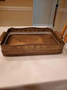 Brass look tray. 24 x 16.