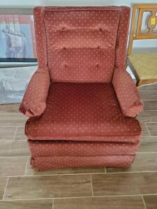 "A half-wingback tufted chair, seat is 17"" tall, back s 36"", is 28"" across, 30 front to back"