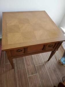 "A pair of American of martinsville end tables, 22"" tall, 26 x 26"