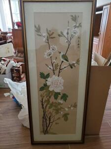 "A vintage framed wall hanging, ""oriental panel"" 42"" tall, 18"" across"