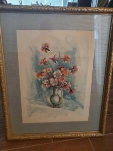 A framed and matted floral print by artist e. Fabian, frame is 29 x 24