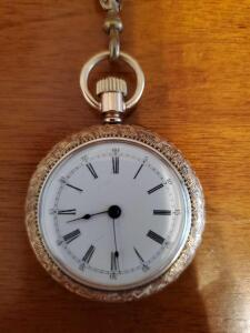 Addison ladies pocket watch on a gold color chain