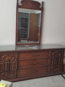 Vintage dresser, matching mirror, and protective glass too