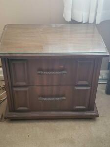 "Vintage nightstand with protective glass, 24"" tall, 26"" across, 16"" front to back"