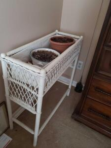 "White wicker plant container, 30"" tall, 30"" across, 12"" wide"