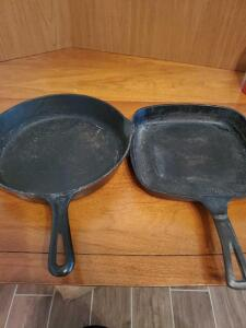 "2 iron skillets, 1 is a Griswold (10""), the other is a 10"" square"