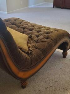 "A rachlin tufted ""double wide"" chaise lounge with 3 accent pillows"