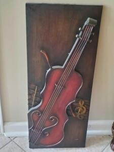 "A 3-d wall hanging of a violin, 30"" x 12"""