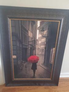 "A canvas print titled ""red rain"" in a great frame, frame is 46"" tall, 32"" across"