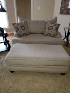 Corinthian light gray fabric over size chair/loveseat.