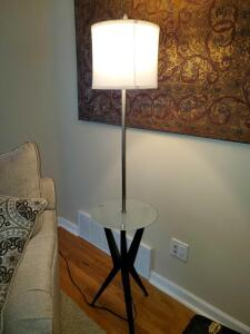 "Modern stylish lamp with frosted glass table top. 14"" wide x 61"" tall."
