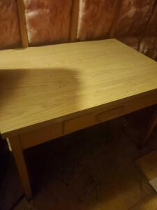 "Vintage wooden desk, 30"" tall, 44"" across, 30"" front to back (located in attic)"
