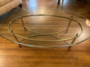 Glass top brass frame coffee table