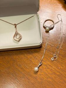 Sterling silver necklace with tiny diamonds, and ring with pearl and necklace with the pearl