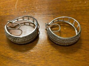Pair of large sterling silver earrings