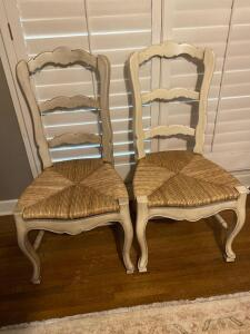 Pair of French style ladder back occasional chairs