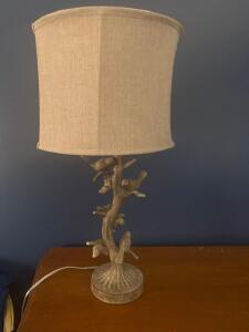 Decorative lamp with birds and linen shade