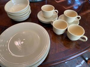 4 piece place setting for 4 people of Fiesta pottery dishes