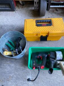 Tools- Electric stapler, plastic toolbox, Gardening tools,