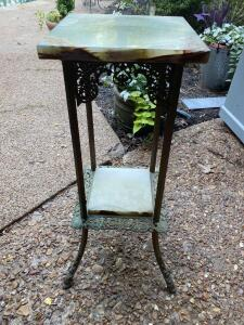 French style marble and metal plant stand