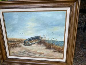 Oil painting of boat on a beach by Julia Miller