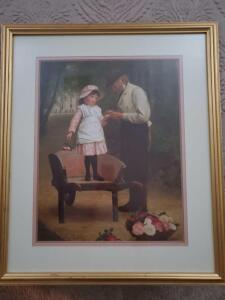 Framed print of a girl with roses.