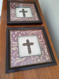 "A Pair of shadow Box style framed crosses. Each frame is 13 1/4"" by 13 1/4""."