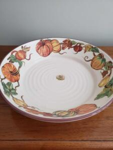 Large fall motif ceramic bowl made in italy.