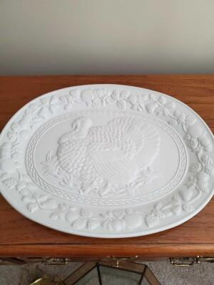 "White ceramic turkey platter. 18""x14"""