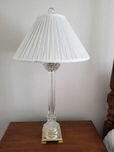 Gorgeous crystal lamp with white pleated shade and crystal finial.