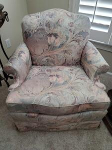 Thomasville chair in pastel colors of blue and mauve.