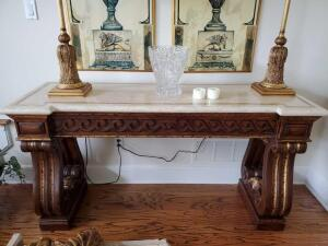 Beautiful Thomasville sofa table with marble top. Ornate base.