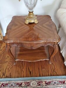 Thomasville end table with bottom shelf.