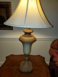 "Urn style lamp with silk shade amd matching finial. 33"" tall."
