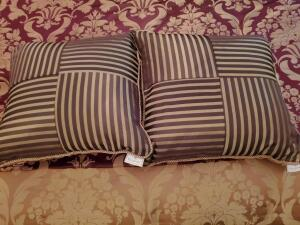 A pair of reversible waterford feather and down filled accent pillows.