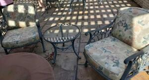 Ethan allen verdi green cast aluminum patio set. Two chairs with cushions and small table.