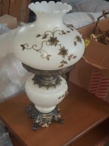 "A sensational gone-with-the-wind style lamp in like new condition, the top shade is 10"" tall with a 16"" diameter"