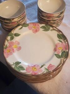 "A grouping of Fransciscan China, Desert Rose pattern, ten 11"" plates, fourteen 5.5"" bowls, these look new"