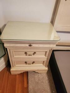 Vintage Lexington furniture night stand with protective glass top