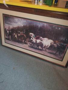 "A large, beautifully framed and matted print of horses and men, 33"" tall, 58"" across"