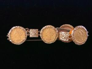 "14 Karat Gold Coin Bracelet Inlaid with Four Coins, 8"" in length"