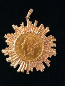 1907 US Liberty Head Twenty Dollar Gold Coin set in a 14 Karat Dramatic Sunburst Bezel Pendant
