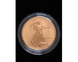 1986 American Gold Eagle Proof Coin in hard plastic case for storage and display. One Ounce Gold